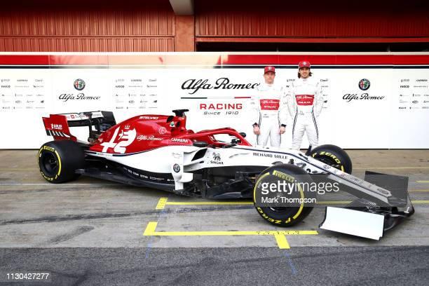 Kimi Raikkonen of Finland and Alfa Romeo Racing and Antonio Giovinazzi of Italy and Alfa Romeo Racing unveil the Alfa Romeo Racing C38 Ferrari in the...