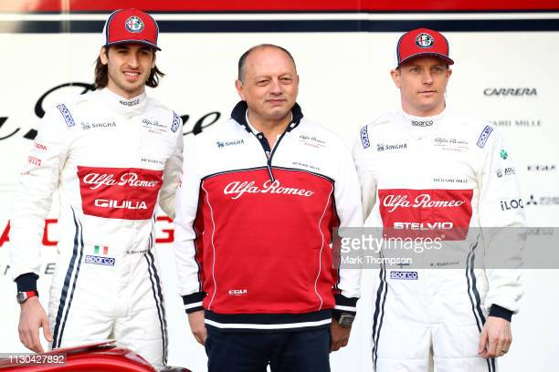 Kimi Raikkonen of Finland and Alfa Romeo Racing, Antonio Giovinazzi of Italy and Alfa Romeo Racing and Alfa Romeo Racing Team Principal Frederic...