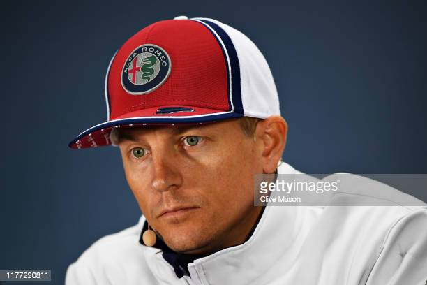 Kimi Raikkonen of Finland and Alfa Romeo Racing looks on in the Drivers Press Conference during previews ahead of the F1 Grand Prix of Russia at...