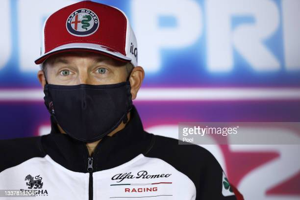 Kimi Raikkonen of Finland and Alfa Romeo Racing talks in the Drivers Press Conference during previews ahead of the F1 Grand Prix of The Netherlands...
