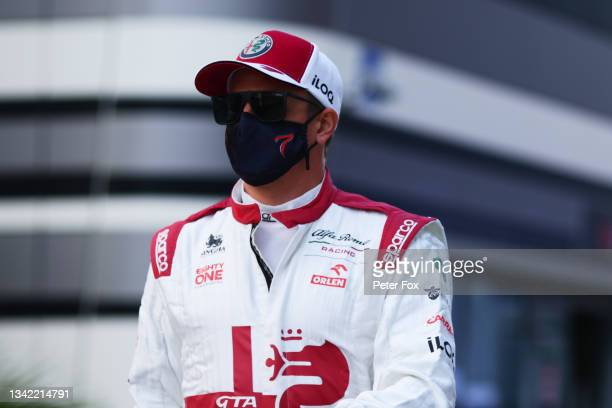 Kimi Raikkonen of Finland and Alfa Romeo Racing walks in the Paddock before practice ahead of the F1 Grand Prix of Russia at Sochi Autodrom on...