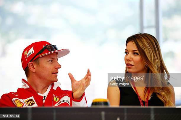 Kimi Raikkonen of Finland and Ferrari and Federica Masolin Sky F1 Italy at the Shell F1 quiz during the Formula One Grand Prix of Monaco at Circuit...