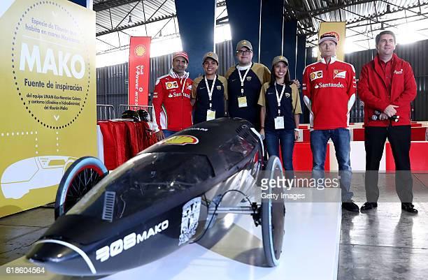 Kimi Raikkonen of Finland and Ferrari and Marc Gene of Spain and Ferrari and Andres Cavallari Shell Retail Mexico at the Shell Eco Marathon event...
