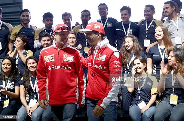Kimi Raikkonen of Finland and Ferrari and Marc Gene of Spain and Ferrari at the Shell Eco Marathon event during the Formula One Grand Prix of Mexico...