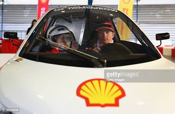 Kimi Raikkonen of Finland and Ferrari at the Shell Eco Marathon event during the Formula One Grand Prix of Mexico at Autodromo Hermanos Rodriguez on...