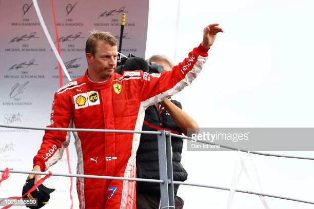 Kimi Raikkonen of Finland and Ferrari celebrates on the podium after the Formula One Grand Prix of Italy at Autodromo di Monza on September 2 2018 in...