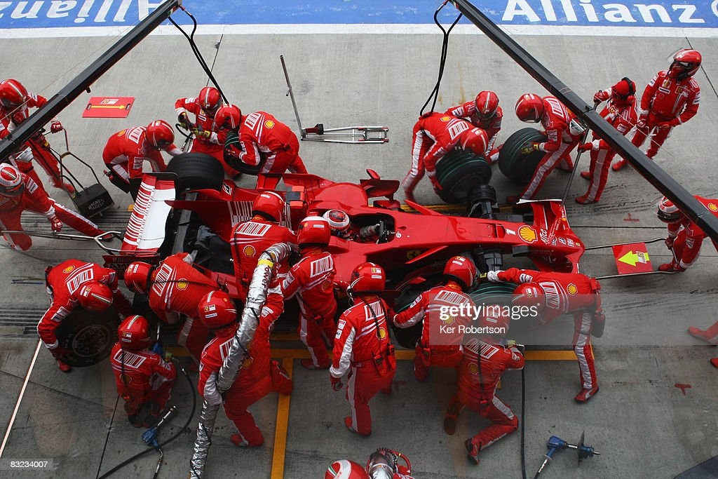 Kimi Raikkonen of Finland and Ferrari comes in for a pitstop during the Japanese Formula One Grand Prix at the Fuji Speedway on October 12, 2008 in Shizuoka, Japan.