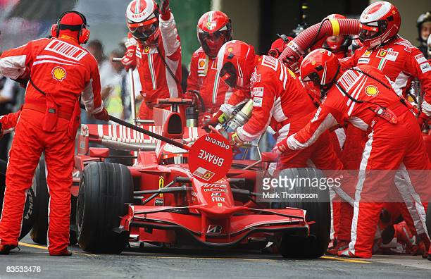 Kimi Raikkonen of Finland and Ferrari comes in for a pitstop during the Brazilian Formula One Grand Prix at the Interlagos Circuit on November 2 2008...