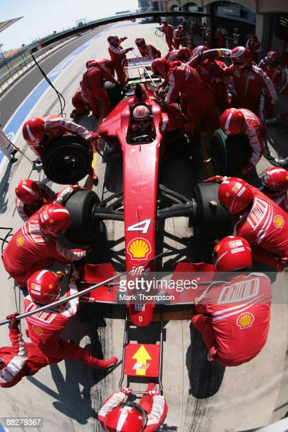 Kimi Raikkonen of Finland and Ferrari comes in for a pitstop during the Turkish Formula One Grand Prix at Istanbul Park on June 7 in Istanbul, Turkey.