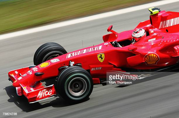 Kimi Raikkonen of Finland and Ferrari competes during the practice for the Malaysian Formula One Grand Prix at the Sepang Circuit on April 6 in Kuala...