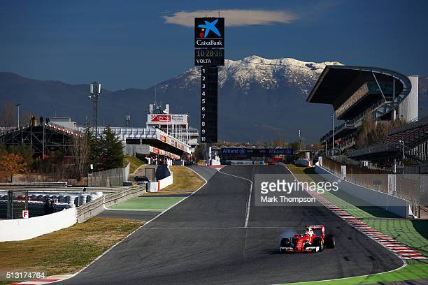 Kimi Raikkonen of Finland and Ferrari drives during day one of F1 winter testing at Circuit de Catalunya on March 1 2016 in Montmelo Spain