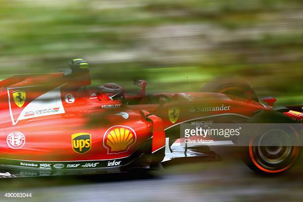Kimi Raikkonen of Finland and Ferrari drives during final practice for the Formula One Grand Prix of Japan at Suzuka Circuit on September 26, 2015 in...