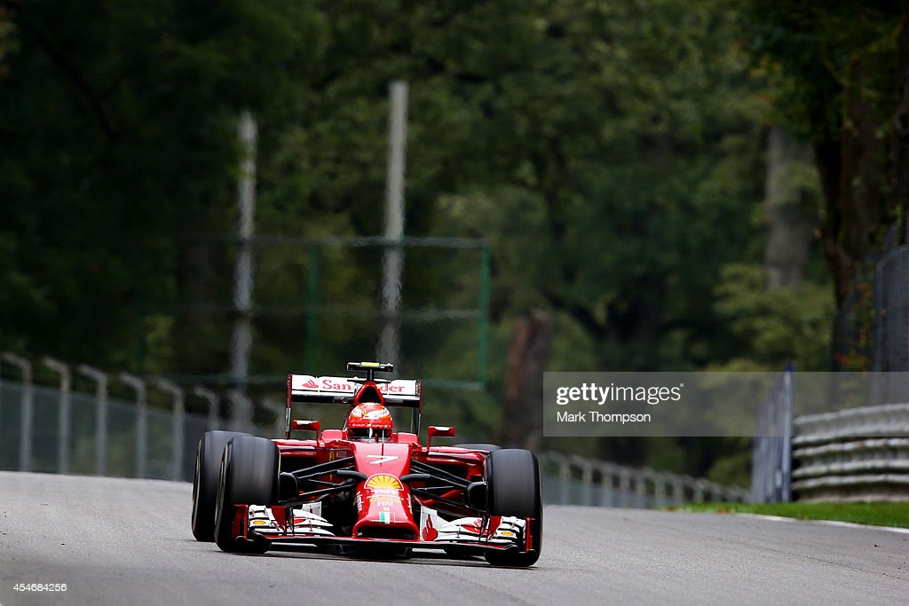 Kimi Raikkonen of Finland and Ferrari drives during Practice ahead of the F1 Grand Prix of Italy at Autodromo di Monza on September 5, 2014 in Monza, Italy.