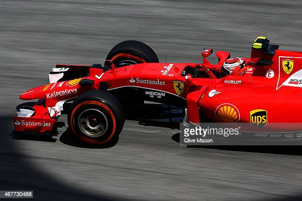 Kimi Raikkonen of Finland and Ferrari drives during practice for the Malaysia Formula One Grand Prix at Sepang Circuit on March 27 2015 in Kuala...