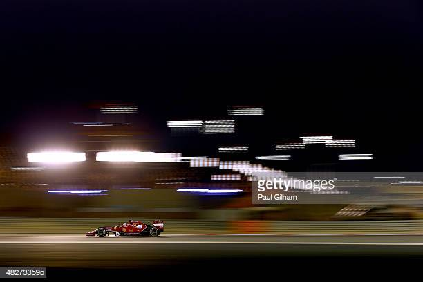 Kimi Raikkonen of Finland and Ferrari drives during practice for the Bahrain Formula One Grand Prix at the Bahrain International Circuit on April 4...