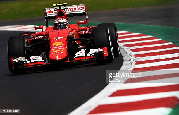 Kimi Raikkonen of Finland and Ferrari drives during practice for the Formula One Grand Prix of Mexico at Autodromo Hermanos Rodriguez on October 30...