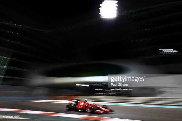 Kimi Raikkonen of Finland and Ferrari drives during practice for the Abu Dhabi Formula One Grand Prix at Yas Marina Circuit on November 27, 2015 in...