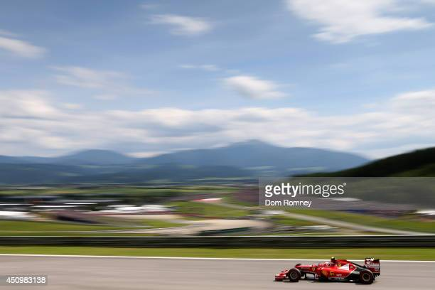 Kimi Raikkonen of Finland and Ferrari drives during qualifying ahead of the Austrian Formula One Grand Prix at Red Bull Ring on June 21 2014 in...