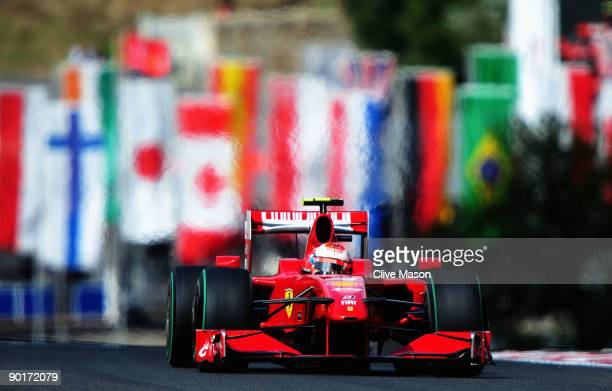 Kimi Raikkonen of Finland and Ferrari drives during qualifying for the Belgian Grand Prix at the Circuit of Spa Francorchamps on August 29, 2009 in...