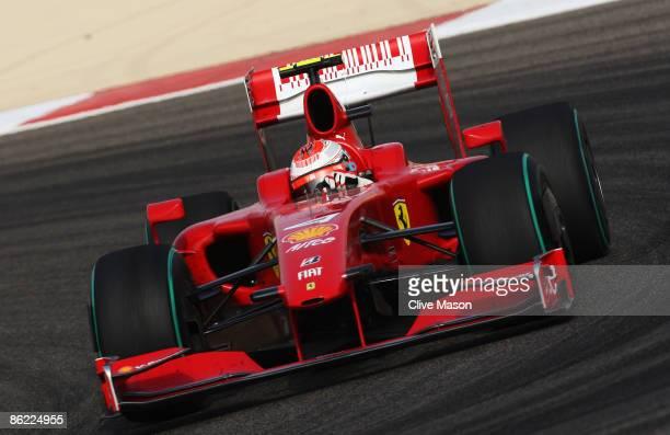 Kimi Raikkonen of Finland and Ferrari drives during the Bahrain Formula One Grand Prix at the Bahrain International Circuit on April 26, 2009 in...