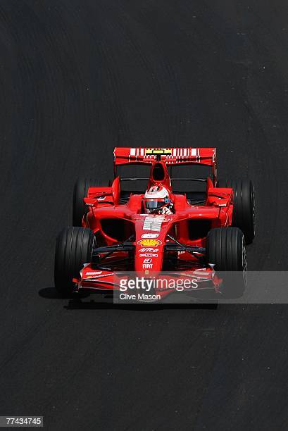 Kimi Raikkonen of Finland and Ferrari drives during the Brazilian Formula One Grand Prix at the Autodromo Interlagos on October 21, 2007 in Sao...