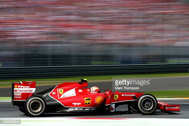 Kimi Raikkonen of Finland and Ferrari drives during the F1 Grand Prix of Italy at Autodromo di Monza on September 7 2014 in Monza Italy