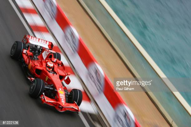 Kimi Raikkonen of Finland and Ferrari drives during the final practice session prior to qualifying for the Monaco Formula One Grand Prix at the Monte...