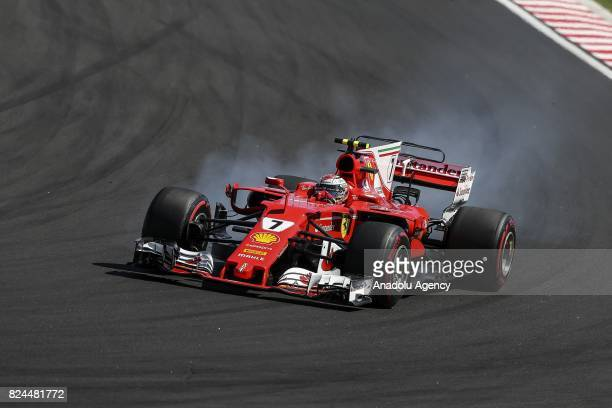 Kimi Raikkonen of Finland and Ferrari drives his car during the Formula One Grand Prix of Hungary at Hungaroring on July 30 2017 in Budapest Hungary
