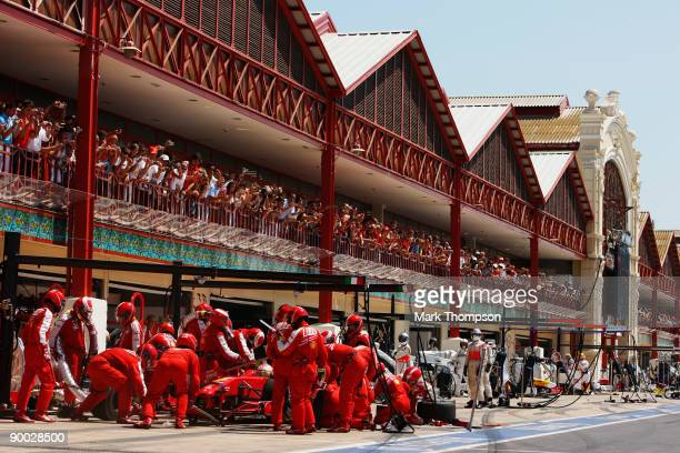 Kimi Raikkonen of Finland and Ferrari drives in for a pitstop during the European Formula One Grand Prix at the Valencia Street Circuit on August 23...