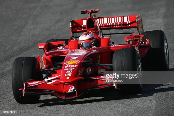 Kimi Raikkonen of Finland and Ferrari in action during a test at the Circuito de Jerez on January 14 in Jerez de la Frontera Spain