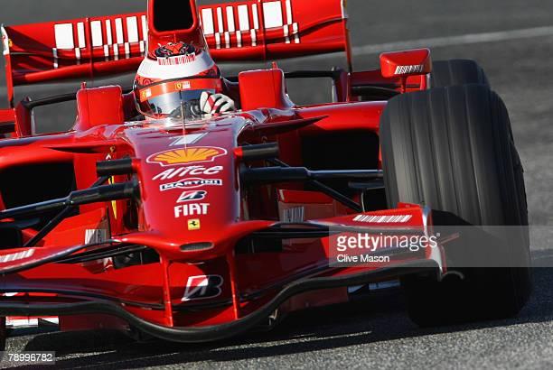 Kimi Raikkonen of Finland and Ferrari in action during a test at the Circuito de Jerez on January 15 in Jerez de la Frontera Spain