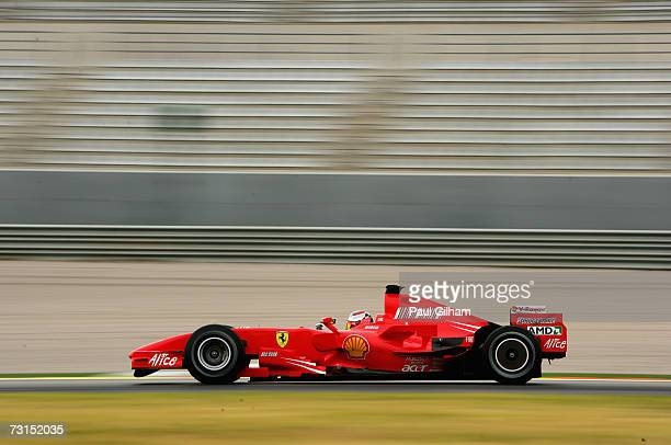 Kimi Raikkonen of Finland and Ferrari in action during Formula One testing at the Circuit Ricardo Tormo on January 30 2007 in Valencia Spain