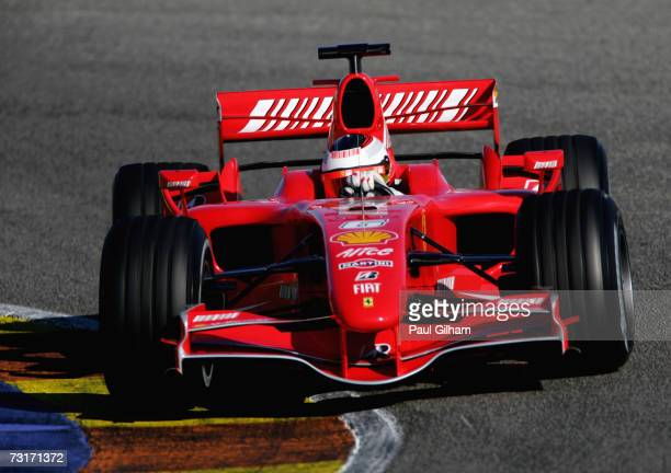 Kimi Raikkonen of Finland and Ferrari in action during Formula One testing at the Circuit Ricardo Tormo on February 1, 2007 in Valencia, Spain.
