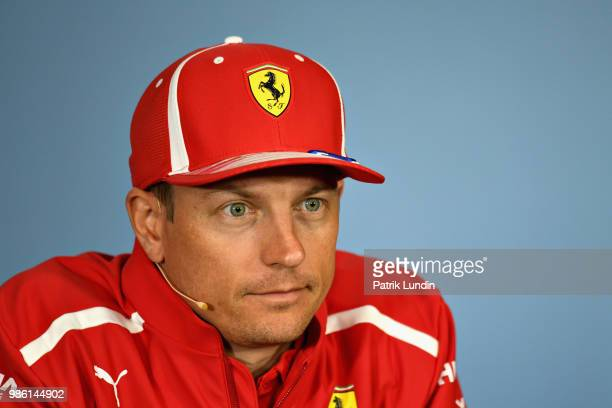 Kimi Raikkonen of Finland and Ferrari in the Drivers Press Conference during previews ahead of the Formula One Grand Prix of Austria at Red Bull Ring...