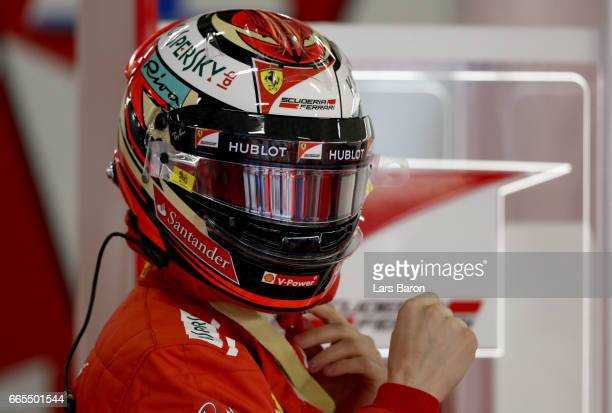Kimi Raikkonen of Finland and Ferrari in the garage during practice for the Formula One Grand Prix of China at Shanghai International Circuit on...