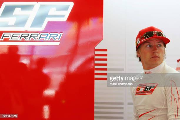 Kimi Raikkonen of Finland and Ferrari is seen in his team garage during practice for the Turkish Formula One Grand Prix at Istanbul Park on June 5 in...