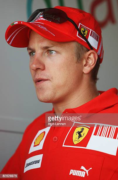 Kimi Raikkonen of Finland and Ferrari looks on during qualifying for the European Formula One Grand Prix at the Valencia Street Circuit on August 23...