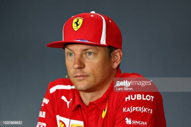 Kimi Raikkonen of Finland and Ferrari looks on in the Drivers Press Conference during previews ahead of the Formula One Grand Prix of Singapore at...