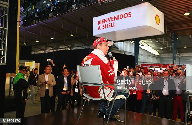 Kimi Raikkonen of Finland and Ferrari on stage at the Shell Eco Marathon event during the Formula One Grand Prix of Mexico at Autodromo Hermanos...