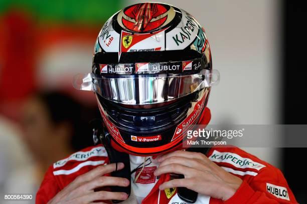 Kimi Raikkonen of Finland and Ferrari prepares to drive during qualifying for the Azerbaijan Formula One Grand Prix at Baku City Circuit on June 24...