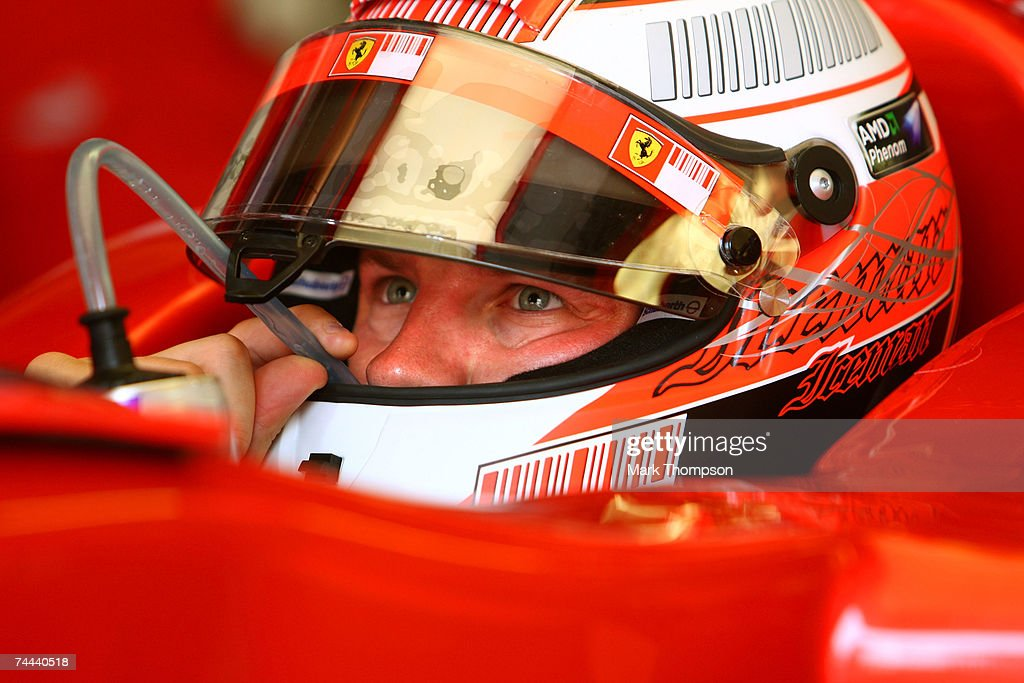 Kimi Raikkonen of Finland and Ferrari races prepares for practice for the Canadian Formula One Grand Prix at the Circuit Gilles Villeneuve on June 8, 2007 in Montreal, Canada.