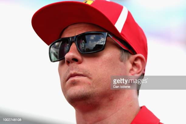 Kimi Raikkonen of Finland and Ferrari walks in the Paddock after practice for the Formula One Grand Prix of Germany at Hockenheimring on July 20 2018...