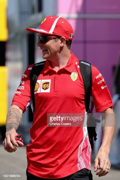 Kimi Raikkonen of Finland and Ferrari walks in the Paddock during previews ahead of the Formula One Grand Prix of Germany at Hockenheimring on July...