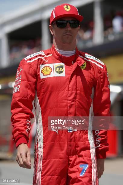 Kimi Raikkonen of Finland and Ferrari walks in the Pitlane before the Canadian Formula One Grand Prix at Circuit Gilles Villeneuve on June 10 2018 in...