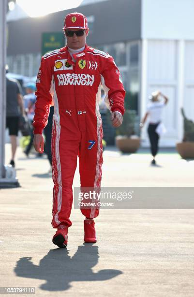 Kimi Raikkonen of Finland and Ferrari walks to the garage during practice for the Formula One Grand Prix of Mexico at Autodromo Hermanos Rodriguez on...