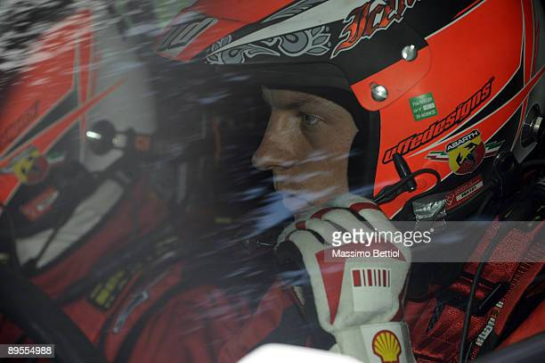 Kimi Raikkonen of Finland and Kaj Lindstrom of Finland compete in their Fiat Grande Punto S2000 during Leg 2 of the WRC Neste Oil Rally of Finland on...