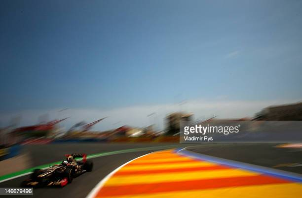 Kimi Raikkonen of Finland and Lotus drives during practice for the European Grand Prix at the Valencia Street Circuit on June 22, 2012 in Valencia,...