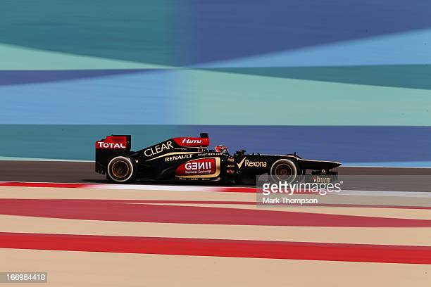Kimi Raikkonen of Finland and Lotus drives during practice for the Bahrain Formula One Grand Prix at the Bahrain International Circuit on April 19...