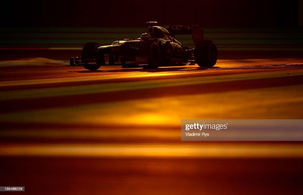 Kimi Raikkonen of Finland and Lotus drives during the Abu Dhabi Formula One Grand Prix at the Yas Marina Circuit on November 4, 2012 in Abu Dhabi, United Arab Emirates.