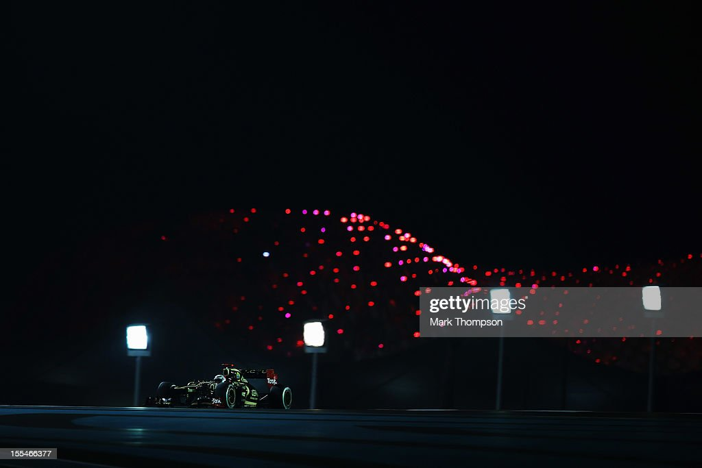 Kimi Raikkonen of Finland and Lotus drives on his way to winning the Abu Dhabi Formula One Grand Prix at the Yas Marina Circuit on November 4, 2012 in Abu Dhabi, United Arab Emirates.